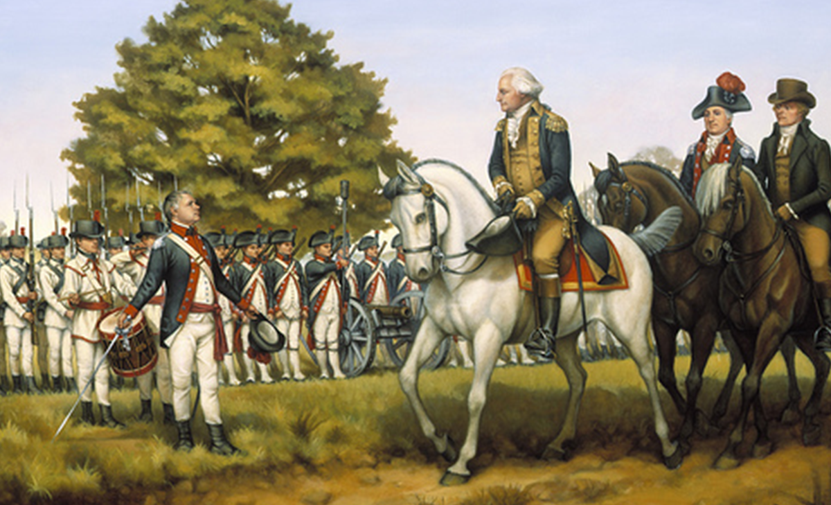 Geo. Washington reviews the troops at Fr. Cumberland, Md before their march to suppress the Whiskey Rebellion in Western Penns.